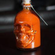 Ghost Chilli Peach Lime Golden Pale Ale hot sauce in Skull shaped bottle - Belfast Northern Ireland (UK / Irish)