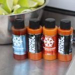 Snow Patrol Hot Sauce Samples at La Taqueira