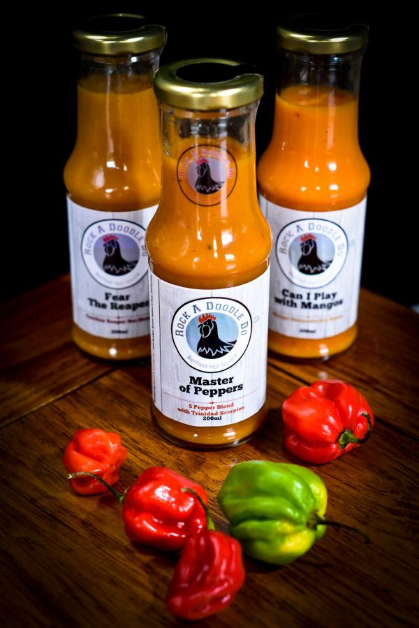 Carolina Reaper, Trinidad Scorpion, and Mango Habanero Hot Sauce